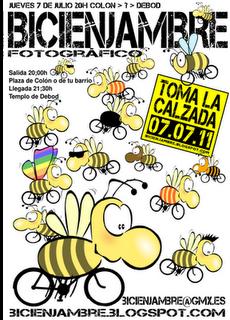 [Cartel del primer BiciEnjambre en Madrid]
